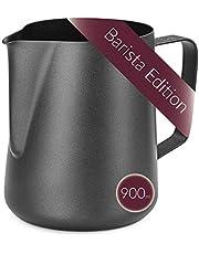 Lambda Coffee Mjölkkanna för Barista teflon belagd svart för mjölkskum, mjölkskummare i rostfritt stål och Lattékonst, mjölkkanna och mjölkkanna