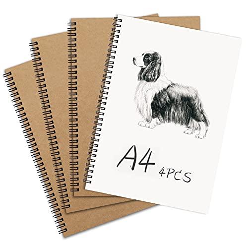 Lot de 4 Cahier à spirale, A4 Kraft Couverture Croquis Papier à dessin,couverture rigide Notebook Convient Pour les Journal de Voyage, les Mémos ou les Graffitis.