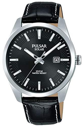 Pulsar Solar herenhorloge analoog solar met lederen armband PX3185X1