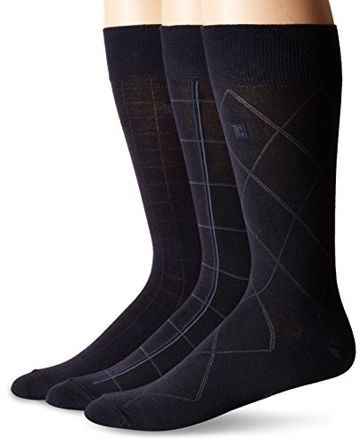 Chaps Men's Soft Dress Crew Socks with Argyle Patterns (3 Pack), Navy Fashion Assorted, Shoe Size: 6-12