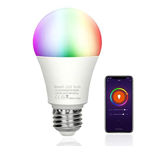 MOZC Glühbirne E27, WLAN Lampen 9W 900LM 2700K-6500K Dimmbare, APP-Steuerung Kompatibel mit Alexa und Google Home, für Haus Dekoration, Party, Bettlampe (1 Stück)