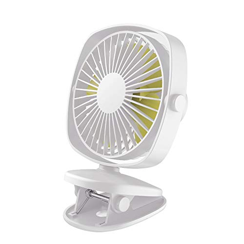 DLRUIHENGXIANGMU Clip On Fan, Rechargeable Battery Operated Desk Fan Powerful 360 Degree Rotatable Personal Fan for Treadmill Golf Cart Home Office