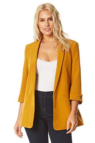 Roman Originals Women Strukturierte 3/4 Ärmel Jacke - Ladies Gerippter von Kante zu Kante Jacke zum Arbeitskleidung Business Arbeitsbüro jeden Tag maßgeschneiderter Mantel - Gelb - Größe 36