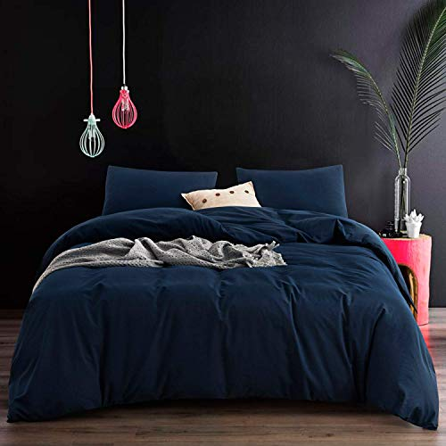 ECOCOTT Blue Duvet Cover Queen Size, 3 Piece 100% Washed Cotton 1 Duvet Cover with Zipper and 2 Pillowcases Cozy Bedding Set(Navy Blue, Queen)