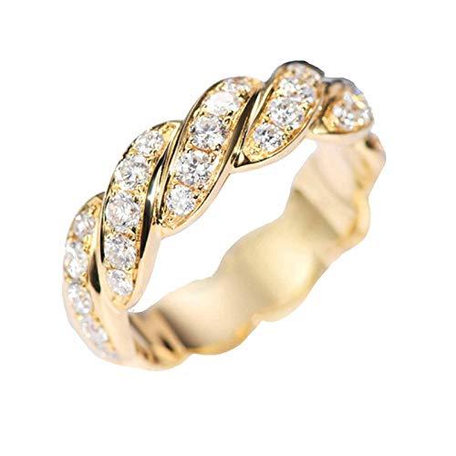 AmDxD Anillo Oro Amarillo Mujer 18 Kilates, Anillo de Compromiso 1ct Blanco Redonda Diamante Retorcido Diseño, Oro Amarillo, Tamaño 11 (Perímetro: 51mm)