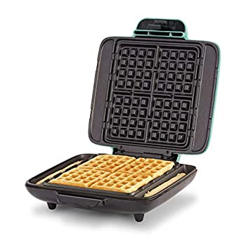 DASH No-Drip Belgian Waffle Maker  Waffle Iron 1200W + Waffle Maker Machine for Waffles Hash Browns or Any Breakfast Lunch & Snacks with Easy Clean Non-Stick + Mess Free Sides - Aqua