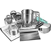 BYkooc 6-Pieces Stainless Steel Flour Sifter Biscuit Cutter Set