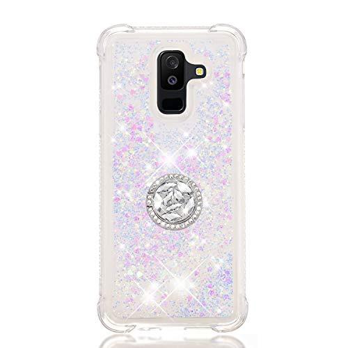 Phcases Funda para Samsung Galaxy A6+/A6 Plus(2018), 3D Bling Brillante Glitter Carcasa Silicona Gel TPU Flexible Cover Crystal Clear Case Transparente Protectora Blanda Caso Caja Cubierta-Blanco.