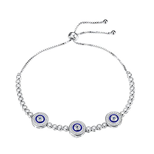 Blue Evil Eye Hamsa Tennis Bracelet Sterling Silver 925 White Cubic Zirconia Adjustable 10 inches Box Chain