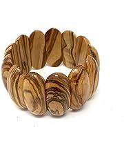 Pulsera flexible ancha de madera de olivo real - hecho a mano - joyería de madera - joyería de madera de olivo - flexible y elástica