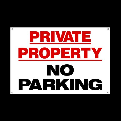 Private Property No Parking 3mm Metal Sign with 4 Pre-Drilled Holes - Private Property, Parking, Clamping, Disabled, Driveway, Do not block (MISC40)