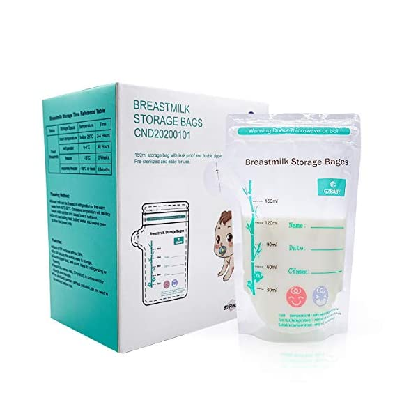 Breastmilk Storage Bags, 60 Count, Pre Sterilized BPA Free Easy to Use Breast Milk...