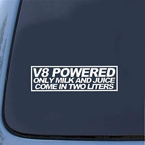 Auto Aufkleber Auto Aufkleber V8 Powered Nur Milch und Saft kommen in zwei Liter Aufkleber Funny Decal Car Styling