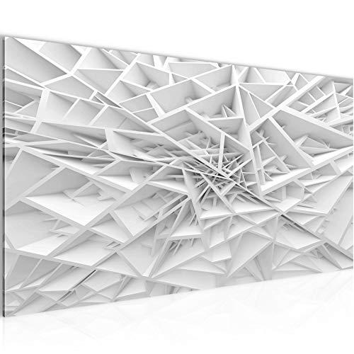 Bilder Abstrakt 3D Wandbild Vlies - Leinwand Bild XXL Format Wandbilder Wohnzimmer Wohnung Deko Kunstdrucke Weiß 1 Teilig - MADE IN GERMANY - Fertig zum Aufhängen 502712a
