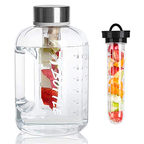 XBOTTLE 2.5 Litre Large Water Bottles with Times to Drink & Fruit Infuser - Color Optional- Dishwasher Safe - BPA Free, Ideal for Gym Office Home Hydration