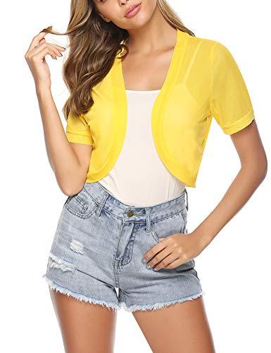 Aiboria Women Short Sleeve Sheer Chiffon Shrug Open Front Bolero Cardigan Yellow