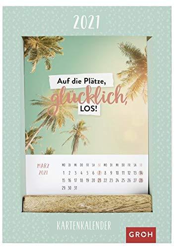 Auf die Plätze, glücklich, los! 2021: Kartenkalender mit Holzaufsteller