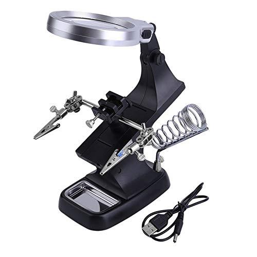 QiKun-Home LED-Lampe Reparaturlampe 360-Grad-Drehung Reparaturwerkzeug Lupen Elektronische Komponenten auf Leiterplatte schwarz