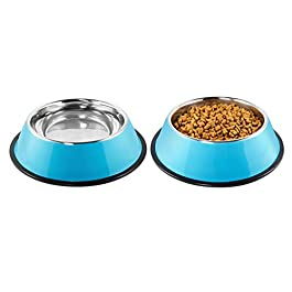 Pudiman Stainless Steel Dog Bowls, Non Slip Food and Water Anti Skid Stackable Pet Cat Feeder Bowls for Small, Medium and Large Dogs (2 Pack)