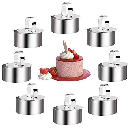 Aros Redondos Achort Juego de moldes para postres,Aros Emplatar, Molde de Pastel Acero Inoxidable Contiene 8 Anillas y 8 Alimentos pressen