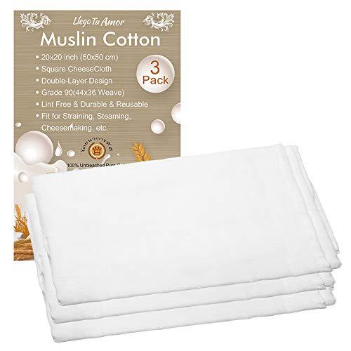 Paquete de 3 paños de muselina de algodón puro de doble capa para colar, ultra fino y suave cuadrado grado 90 (50 x 50 cm), paños de queso muselina tejido filtro para cocinar, hornear