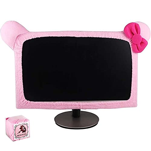 """Monfurise 15""""-22"""" Lovely Cute Waterproof Dustproof Computer Laptop TV LCD Screen Monitor Decoration Dust Cover Protector, Pink"""