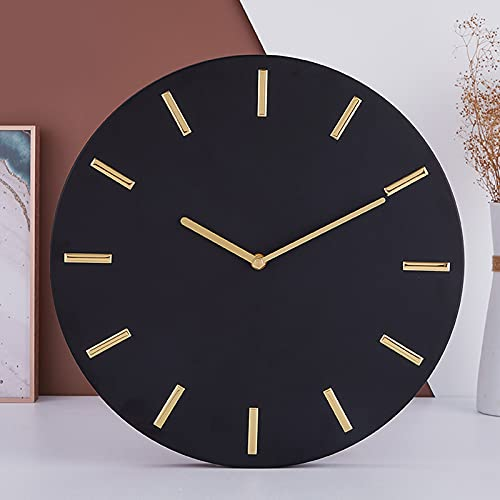 Reloj de Pared Negro, Reloj de Pared Silencioso Sin Marco, Escala Dorada Tridimensional, Silencioso Sin Tictac