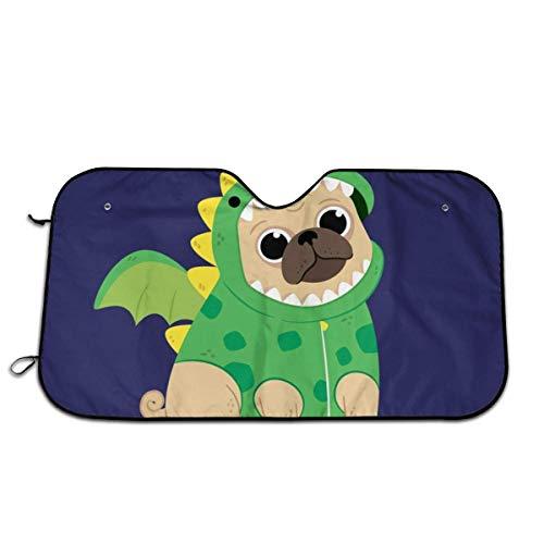 WH-CLA Car Windshield Sun Shade Cachorro De Dibujos Animados En Un Disfraz De Dinosaurio Verde A Prueba De Polvo Protege El Interior del Vehculo Y Lo Mantiene Fresco Parabrisas del Coche