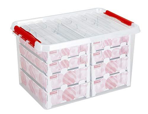 Sunware Q-Reihe Box für Weihnachtsdekoration mit Ablagen für 116Kugeln, transparent/rot, Einheitsgröße