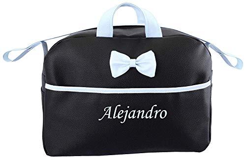 Bolso Personalizado Bebe Carrito con nombre bordado Kona negro-azul + Regalo de un babero