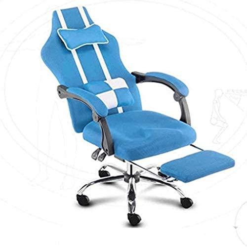 Silla de Oficina Silla de Juego, Silla de Escritorio de computadora ergonómica High Back Racing Style Cómodo Silla Silla giratoria Sillón (Color : Blue)