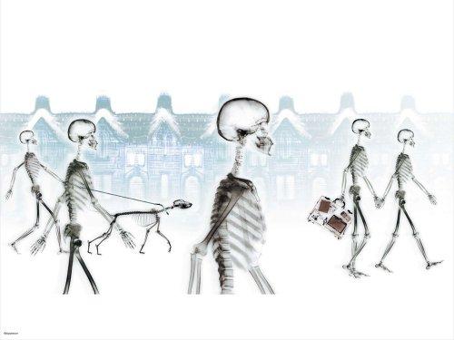 Skeletons Snowy Village