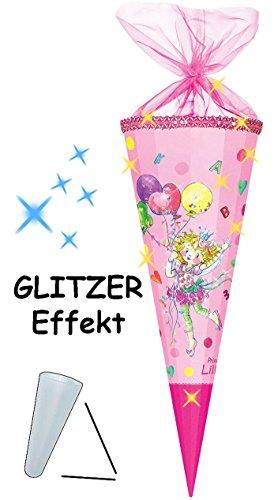 alles-meine.de GmbH mit 3-D Glitzer Effekt ! - Schultüte -  Prinzessin Lillifee  - 85 cm - 12 eckig - Organza Abschluß - Zuckertüte - Nestler - mit / ohne Kunststoff Spitze - f..