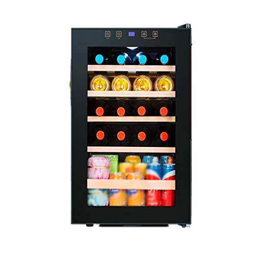 Nuitab 19 flessen wijnkoelkast wijnkoeler Cooler Drink dranken koelkast kelder 4-18 ° C temperatuur zone 4 planken glazen deur zwart 48 × 43 × 64,5 cm