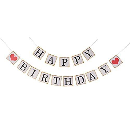 ULTNICE Papier Banner, quadratische Happy Birthday Girlande Banner Fahne Dekoration für die Geburtstagsparty