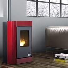 Estufa de pellets ventilada forzada Karmek One modelo Oslo S1 color rojo kW 7,11