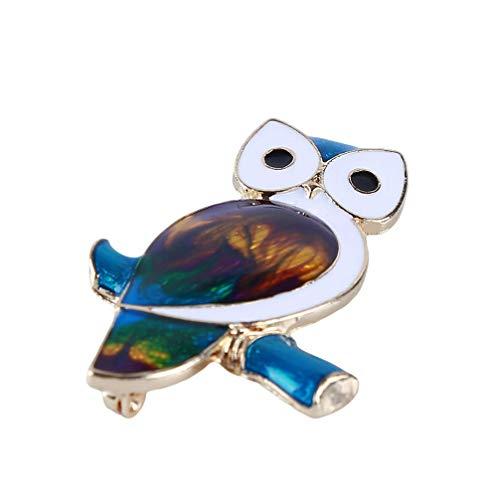 Kyoidy Vintage Hermoso Pintado Búho Broche Ramillete Animal Pájaro Abrigo Broche Accesorios Azul