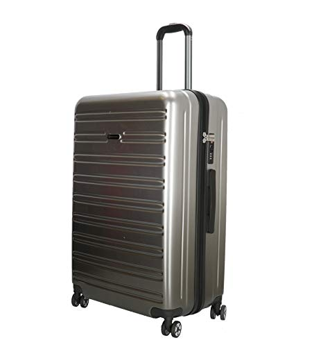 Hartschalenkoffer-Reisekoffer-Koffer-Trolley-Gepäck-Silber-XL-76cm-Leicht-Bowatex