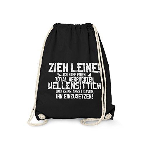 Fashionalarm Turnbeutel - Zieh Leine - verrückter Wellensittich   Fun Rucksack mit lustigem Spruch für Vogel Halter Besitzer Züchter Papagei, Farbe:schwarz