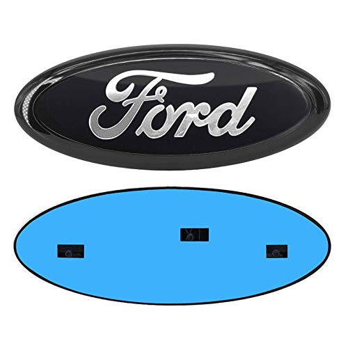 9 Inch Front Grille Tailgate Emblem, Oval 9'X3.5', Decal Badge Nameplate fit for 04-14 F150 F250 F350, 11-14 Edge, 11-16 Explorer, 06-11 Ranger (Black&White)