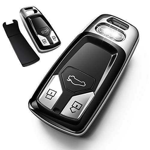 Autophone for Audi Key Fob Cover Case Premium Soft TPU 360 Degree Entire Protection Key Shell Key Case Compatible with Audi A4 A5 Q5 Q7 TT TTS S4 S5 RS4 RS5 Smart Key (only for Keyless go)-Silver
