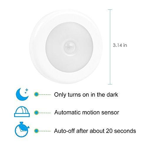 Motion Sensor Light Cordless Battery Powered Built-in Magnets Optional Sticky Pads Motion Sensing Lights - Hallway Bathroom Bedroom Kitchen Pack of 3 (Warm White)