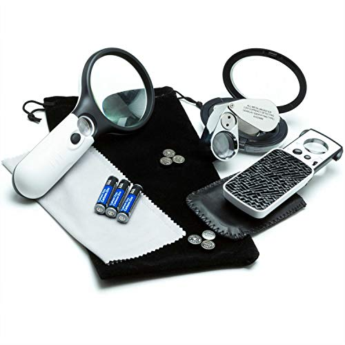3 Loupe Bundle Includes a 3x Magnifying Glass with Light Plus 45x Lighted Magnifying Glass Loupe, & a Pocket Magnifier…