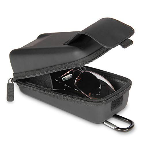 USA GEAR Glasses Case Hard Shell - Sunglasses Case/Safety Glasses Case Compatible with Sunglasses, Safety Glasses and More - Top Loading Rugged Hard Glasses Case with Belt Loop and Carabiner (Black)