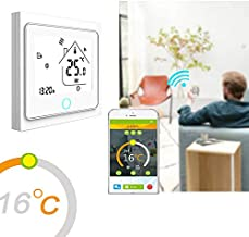 Smart WiFi Thermostat LCD Touchscreen Heating Thermostat app Control for Electric Heater Valve Actuator Control Support Electric and Water Heating White