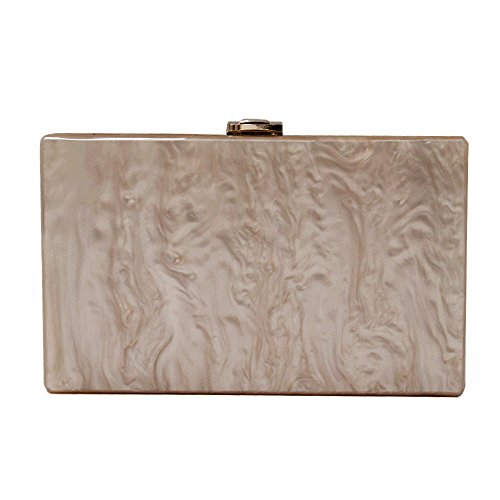 Dirmmis Woman New Wallet Fashion Solid Acrylic Bag Party Evening Bag Clutches Wedding Women Casual Handbag, Beige, normal size