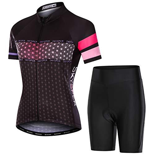 SKYSPER Ciclismo Maillot Mujer Jersey Pantalones Cortos Culote Mangas Cortas de Ciclismo...