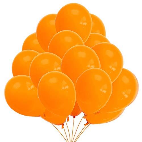 50 Globos Naranjas Brilante de Látex de 36 cm. Globo Naranja por Helio de 3,2g. Decoraciones y Accesorios para Fiesta de Cumpleaño