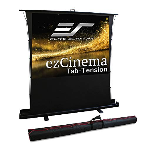 Elite Screens ezCinema Tab Tension, 100-Inch 4:3 Portable Manual Floor Pull Up Scissor Backed Projector Screen, Office School Front Projection +Carry Bag | US Based Company 2-Year Warranty - FT100XWV