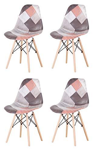 Silla de comedor de estilo nórdico, diseño de patchwork científico, con asiento de cojín suave y patas de madera para cocina, salón, oficina, salón, vestíbulo, recepción (4 unidades), color rojo